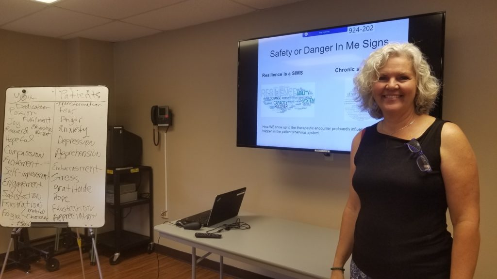 Cheryl Van Demark, PT, MA spoke about: Facilitating Healing in Cardiac and Pulmonary Patients experiencing Chest Pain