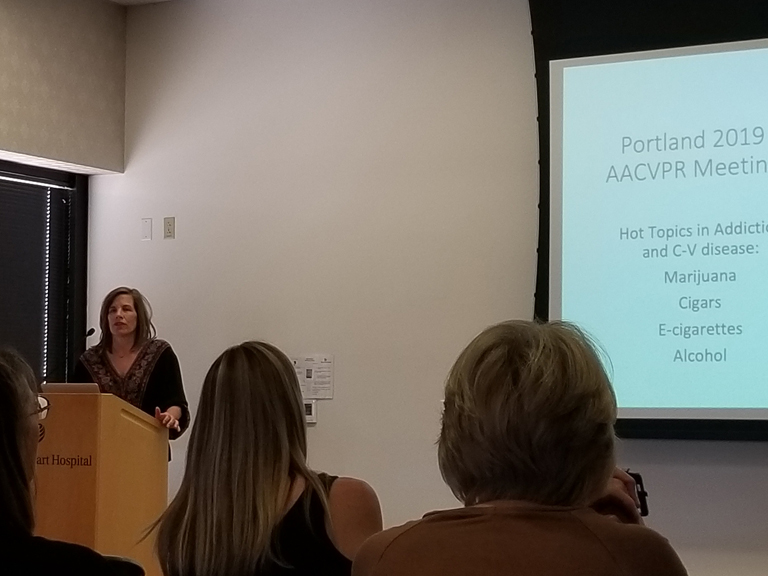 Janelle sharing what she learned about tobacco, e-cigarettes, etc.. at the AACVPR conference